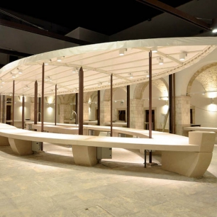 External Floor Tiles: Ambrato Chianca Fish / Stand: Tango Silk