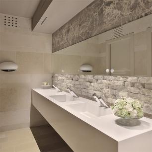 Wall covering: Ambrato Basilea-Rock Face Antique / Wall: Tango Egnatia